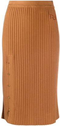 Bally Ribbed Knit Midi Skirt
