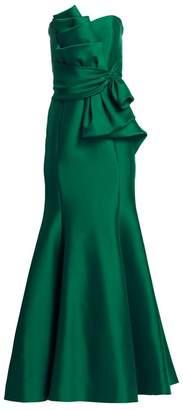 Badgley Mischka Strapless Bow Front Gown