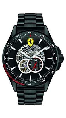 Scuderia Ferrari Mens Skeleton Automatic Watch with Stainless Steel Strap 0830602