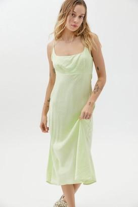 ASTR the Label Joan Satin Midi Slip Dress