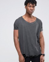 Asos Super Oversized T-Shirt With Distressing And Roll Sleeves And Scoop Neck In Gray
