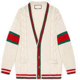 Gucci Web cable knit wool cardigan