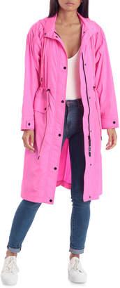 AVEC LES FILLES Oversized Nylon Rain Anorak Hooded Jacket