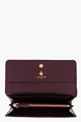Lanvin Plum Textured Leather Happy Wallet