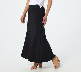 Women With Control Petite Tummy Control Printed Godet Maxi Skirt