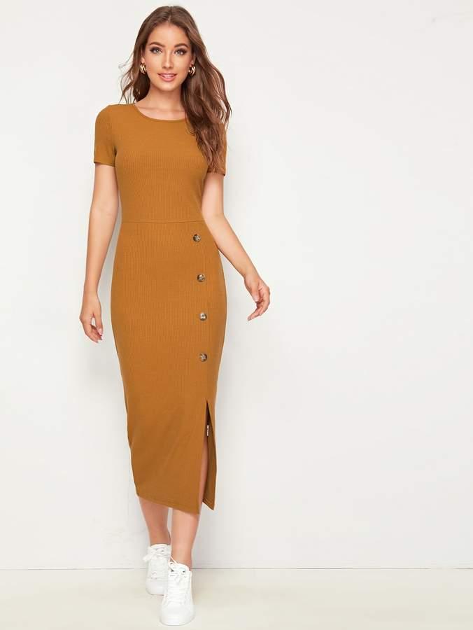 Shein Single Breasted Split Hem Rib-knit Pencil Dress