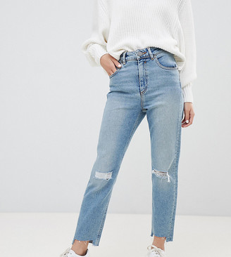 Asos DESIGN Petite Farleigh high waisted slim mom jeans in light vintage wash with busted knee and rip & repair detail-Blue