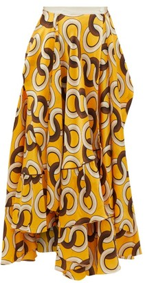 F.R.S For Restless Sleepers Bronte Circle-print Layered Hammered-silk Skirt - Yellow Multi