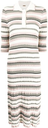 Adam Lippes Striped Ribbed-Knit Polo Dress