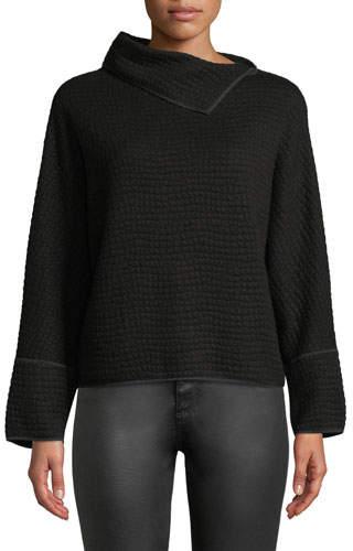 Giorgio Armani Long-Sleeve Jersey Jacquard Knit Top w/ Fold-Over Collar