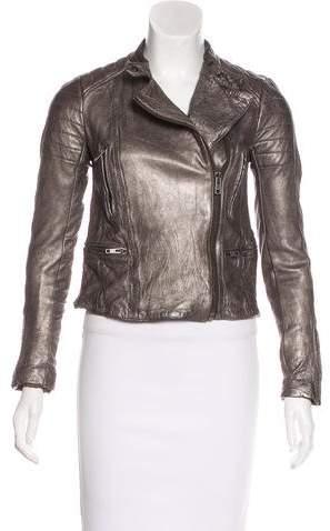 AllSaints Metallic Colby Leather Jacket