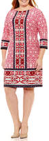 London Times 3/4 Sleeve Pattern Shift Dress - Plus