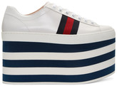 Gucci White Peggy High Platform Sneakers