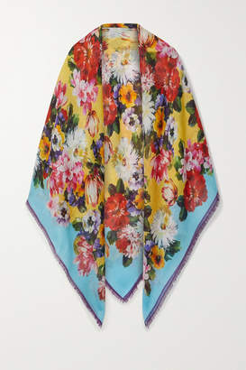 Dolce & Gabbana Frayed Floral-print Cashmere And Silk-blend Scarf - Blue
