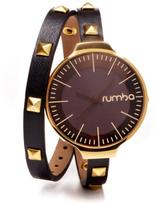 RumbaTime Orchard Studded Black Double Wrap Strap Watch