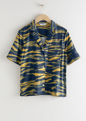 And other stories Open Collar Tiger Print Shirt