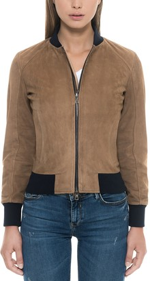 Forzieri Brown Suede Women's Bomber Jacket
