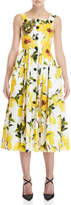 Dolce & Gabbana Lemon Print Button Midi Dress