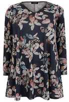 Yours Clothing YoursClothing Plus Size Womens Butterfly Print Longline Swing Top V-Neckline