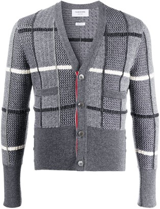 Thom Browne jacquard-check V-neck cardigan