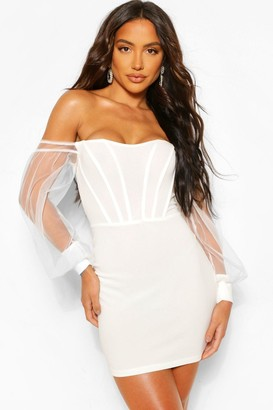 boohoo Corset Detail Off The Shoulder Bodycon Mini Dress