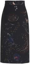 Valentino Crepe Couture Printed Midi Skirt