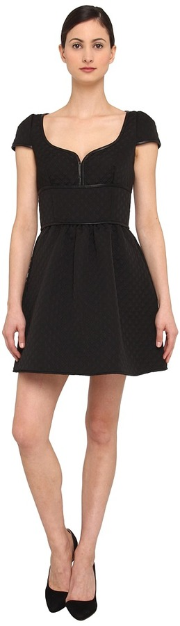 RED Valentino Black Quilted Matlae Dre with Leather Trim Women' Dre