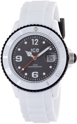 Ice Watch Ice-Watch Unisex Quartz Watch with Black Dial Analogue Display and White Silicone Strap SI.WK.U.S.12