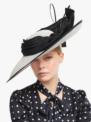 Snoxells Audrey Wide Disc Bow and Quills Occasion Hat, Black/White