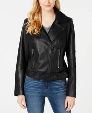 Michael Kors Michael Petite Leather Belted Moto Jacket, Created for Macy's
