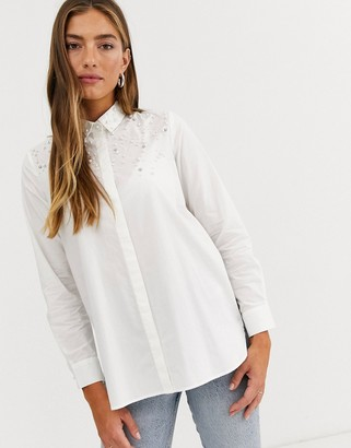 Stradivarius oversized shirt with pearl detail in white
