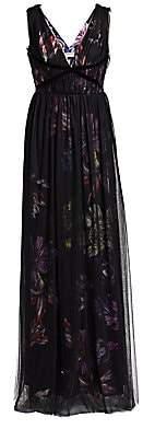 Chiara Boni Women's Nachelle Floral Print Tulle Layered Gown
