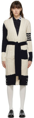 Thom Browne White and Navy Funmix Aran Cable 4-Bar Long Cardigan