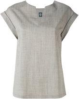 Eleventy neck slit blouse
