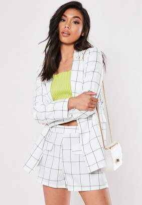 Missguided Check Co Ord Linen Look Tailored Shorts