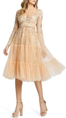 Mac Duggal Floral Long Sleeve Tulle Midi Dress
