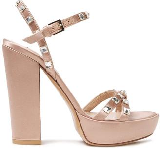 Valentino Rockstud Glam Satin Platform Sandals