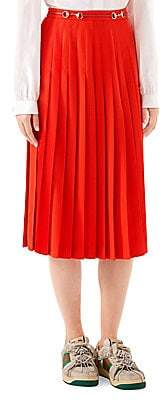 Gucci Women's Sable Wool Belted Pleated Midi Skirt