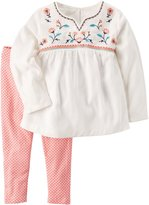Carter's Girls' 2T- 2 Piece Embroidered Babydoll Top And Leggings Set