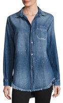 Current/Elliott The Prep School Frayed Denim Shirt, Navy