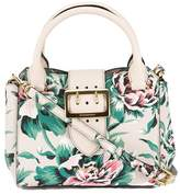 Burberry Natural and Emerald Green Leather Peony Rose Print Small Buckle Tote Bag