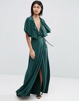 Asos Cape Open Back Plunge Maxi Dress