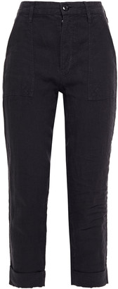 Frame Cropped Linen Tapered Pants