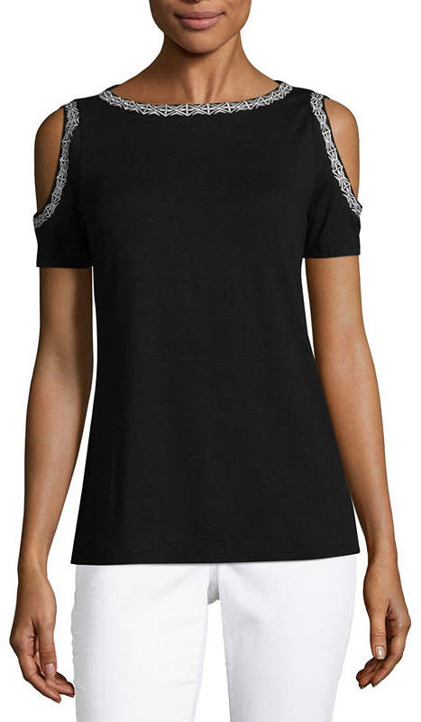 Cold Shoulder Round Neck Embroidered T-Shirt