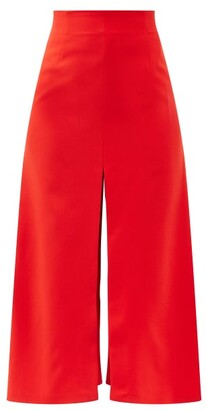 A.W.A.K.E. Mode Slit A-line Crepe Skirt - Red