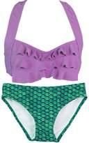 Fin Fin Fin Fun Mermaid Girls Sea Wave Bikini Set, Yellow Top, Tropical Sunrise Bottom, Small