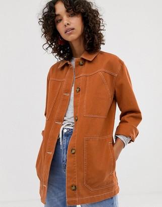 Asos Design DESIGN contrast stitch cotton jacket-Brown