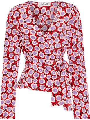 Diane von Furstenberg Alexia Floral-print Silk Crepe De Chine Wrap Top