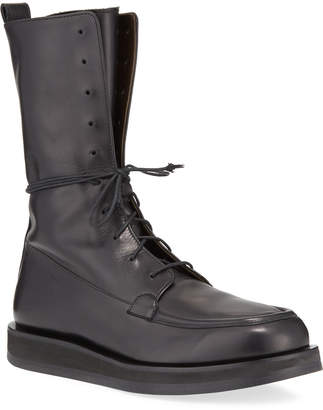 The Row Patty Leather Lace-Up Combat Boots