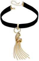 Thalia Sodi Gold-Tone Pavé Snake & Chain Tassel Black Velvet Ribbon Choker Necklace, Created for Macy's